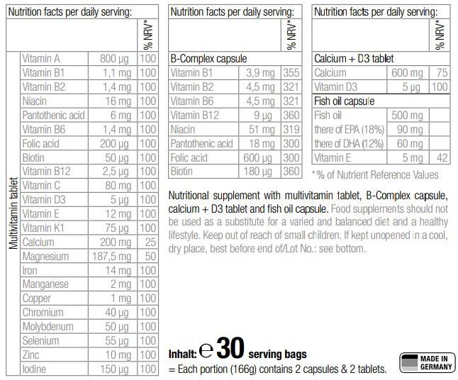 Packs multi-vitamines minéraux 30 jours