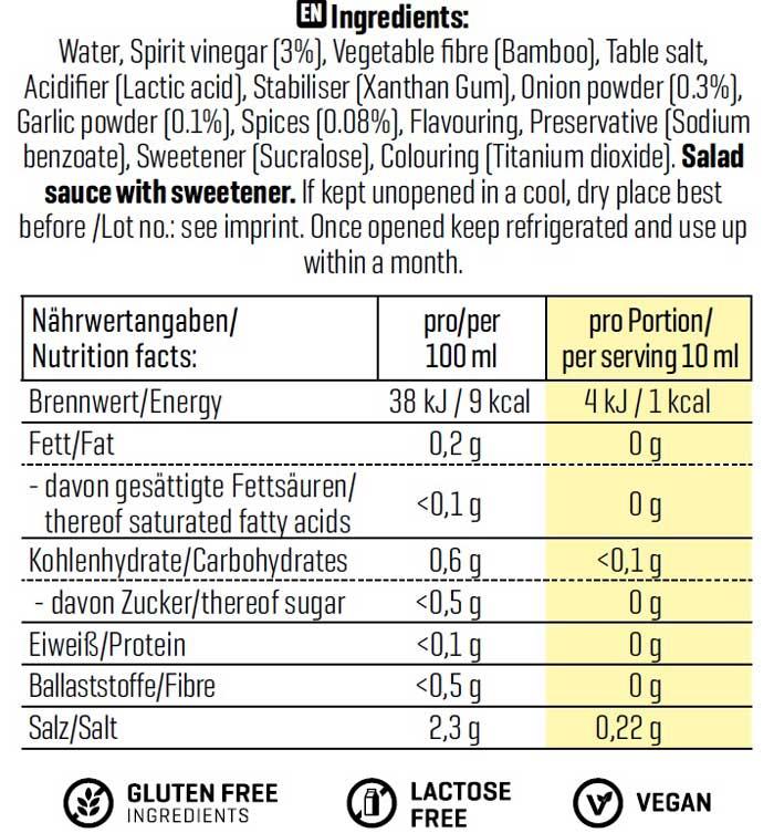 ingrédients vinaigrette césar 0 calories