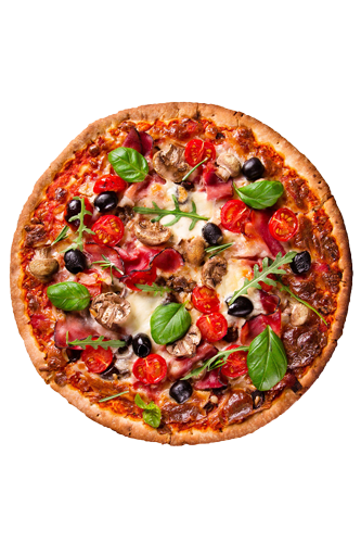 pizza avec pâte faible en glucides et riche en protéine
