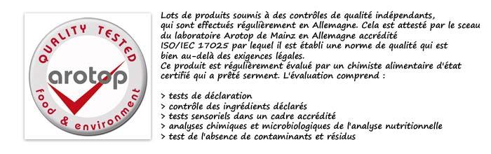 Certificat de qualité indépendant Arotop