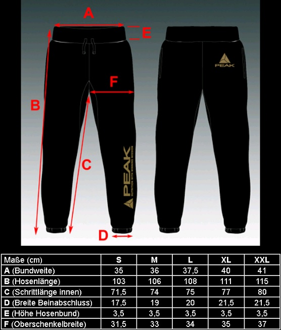 taille sweat pants
