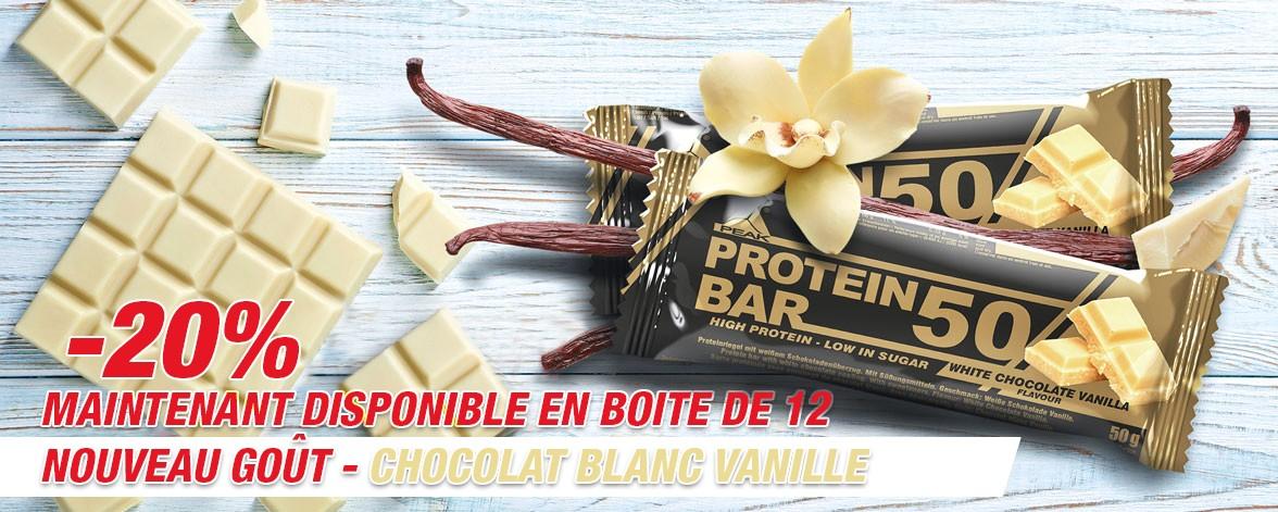 Nouvelle barre protein 50 Chocolat Blanc Vanille